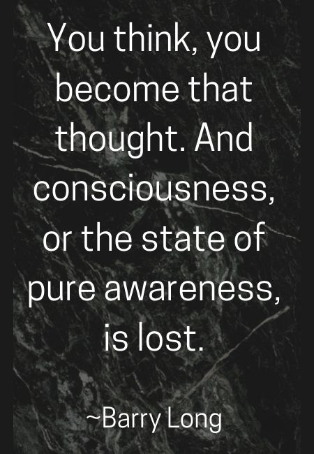 You Think You Become That Thought And Consciousness Or The State Of Pure Awareness Is Lost